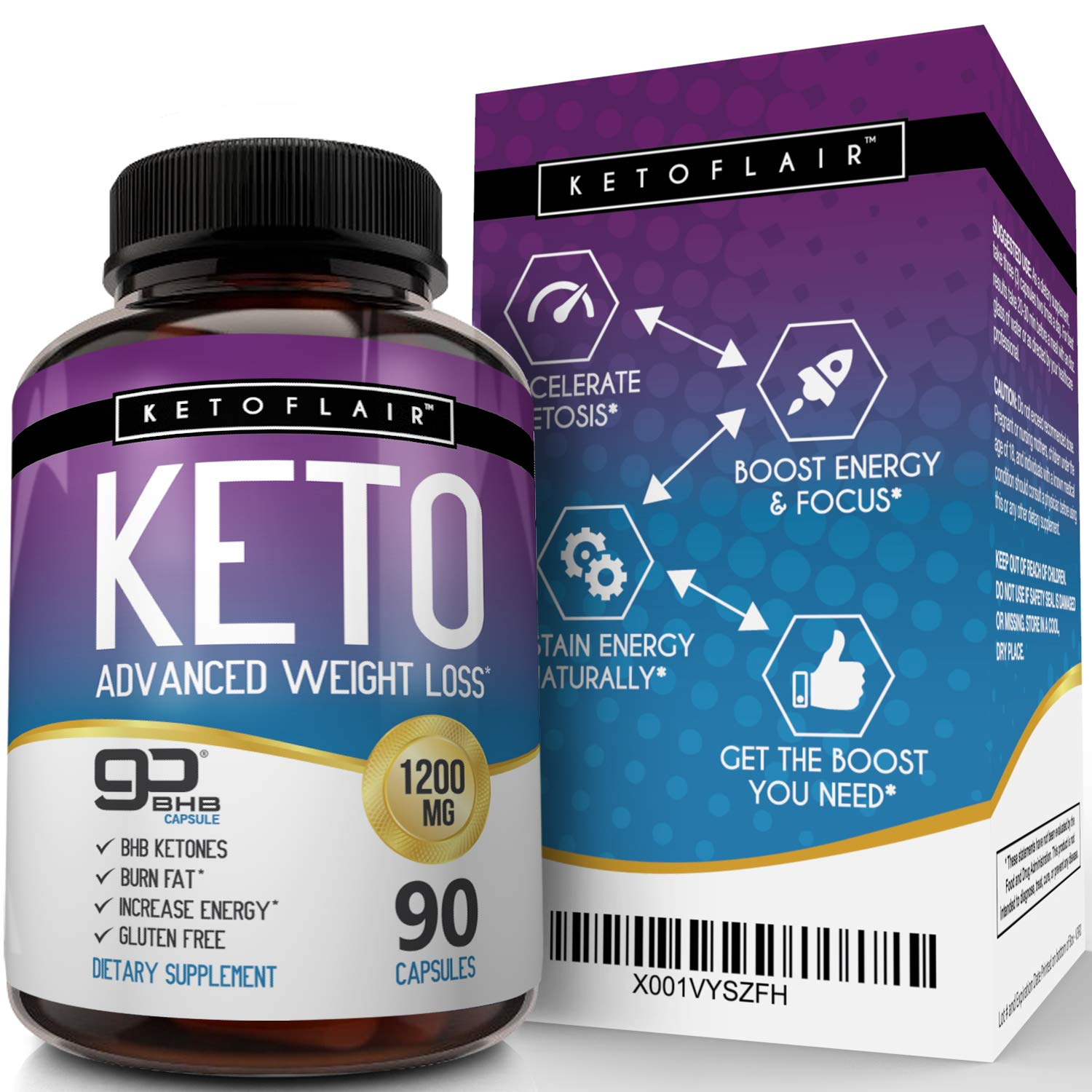 Best Keto Diet Pills GoBHB 1200mg, 90 Capsules Advanced Weight Loss Ketosis Supplement - Natural BHB Salts (beta hydroxybutyrate) Ketogenic Fat Burner, Carb Blocker, Non-GMO - Best Weight Loss Support by NutriFlair (Image #4)