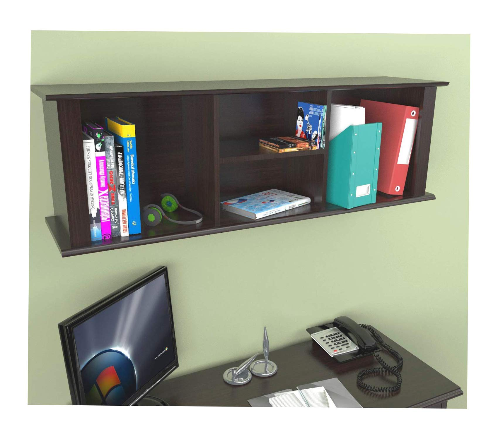 Wood & Style Office Home Furniture Premium Wall-Mounted Hutch by Wood & Style (Image #1)