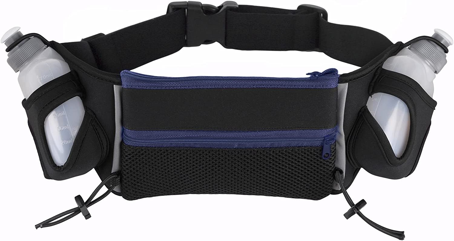 AMSANA trade; Runners Hydration Belt for Iphone 6/6 Plus & Android Smartphones - Two 6oz. Water Bottles - Running Waist Pack Includes Toggles to Hold Your Race Number
