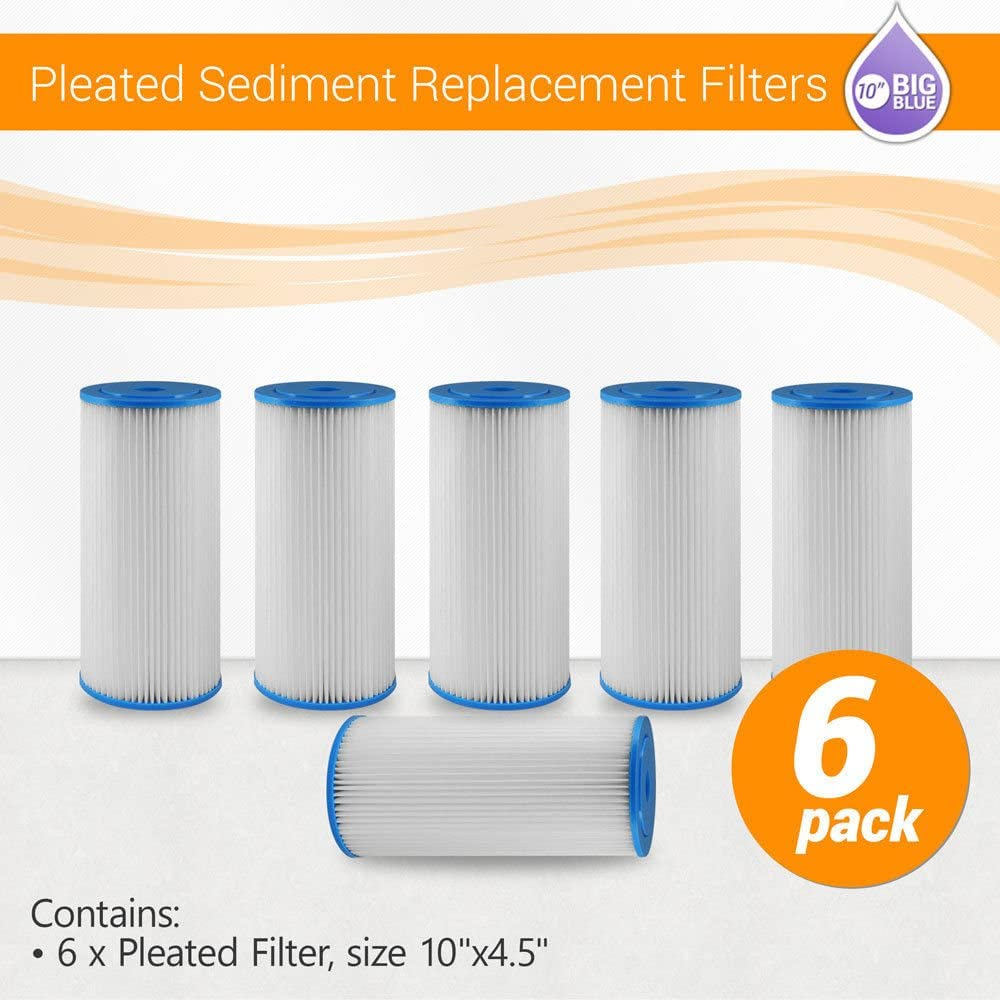 "(6) 10""x4.5"" Big Blue Pleated Washable Sediment Water Filter Any 5 or 10 Micron (5 Micron) 71w5JRt6W2L"