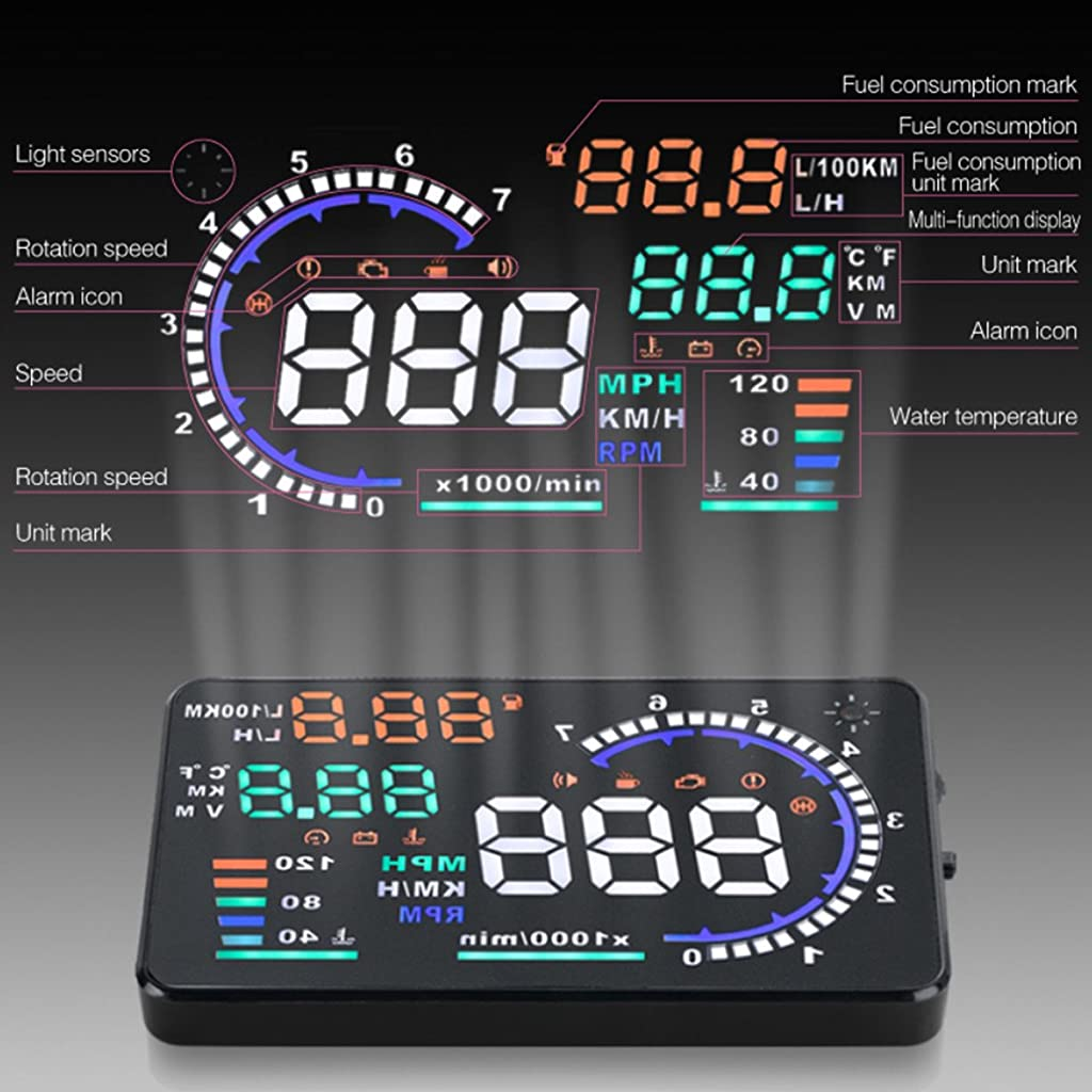 Techstick 5.5 inch A8 HUD Head Up Display with OBD2,EU OBD Interface Plug Display KM/h MPH,Speeding Warning,Fuel Consumption,Temperature,Driven mileage,5.5