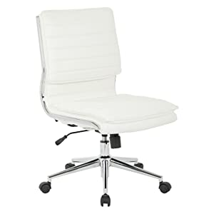 Office Star Faux Leather Armless Mid Back Managers Chair with Chrome Base, White
