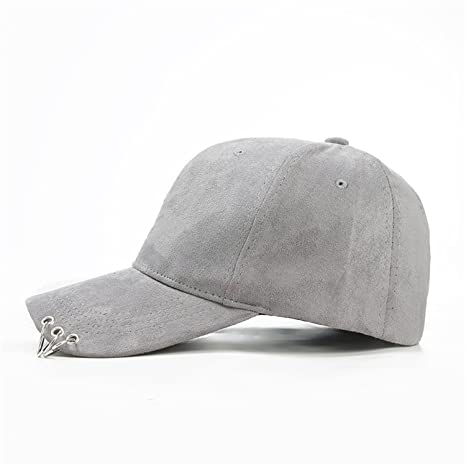 Amazon.com : Miki Da unisex solid Ring Safety Pin curved hats baseball cap men women Suede snapback caps casquette gorras 7 : Sports & Outdoors