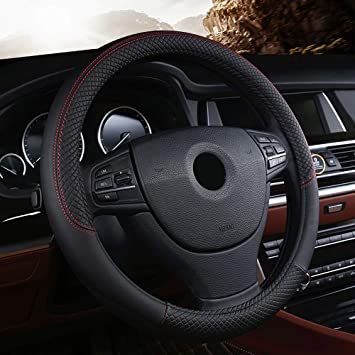 Anti-slip DIY Leather Microfiber Car Auto Steering Wheel Cover 15/'/' 38cm Black