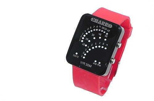 Reloj El Charro Digital Unisex Hombre Mujer goma rojo Data ch10921cr: Amazon.es: Joyería