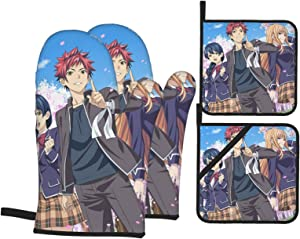 BattLeo Anime Food Wars Shokugeki No Soma Oven Mitts and Pot Holders Sets 4-Piece, Fireproof Non-Slip Surface Cooking Hanging Gloves, for Baking Grilling BBQ