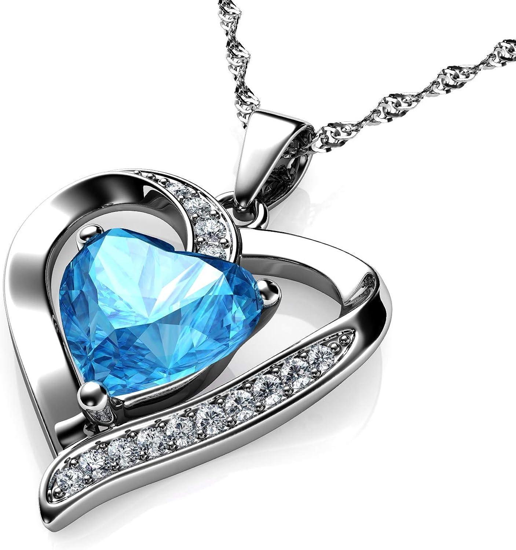 DEPHINI - Collar de corazón - Plata de ley 925 - Piedra natal de aguamarina adornada con colgante de cristal de Dephini - Collar de mujer de joyería fina chapado en rodio cadena de plata