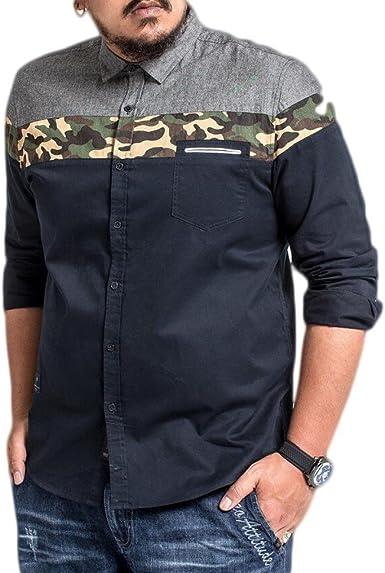 GHGJU Camisa De Manga Larga 100% Algodón para Hombres Top Informal De Costura De Camuflaje Suelto: Amazon.es: Ropa y accesorios