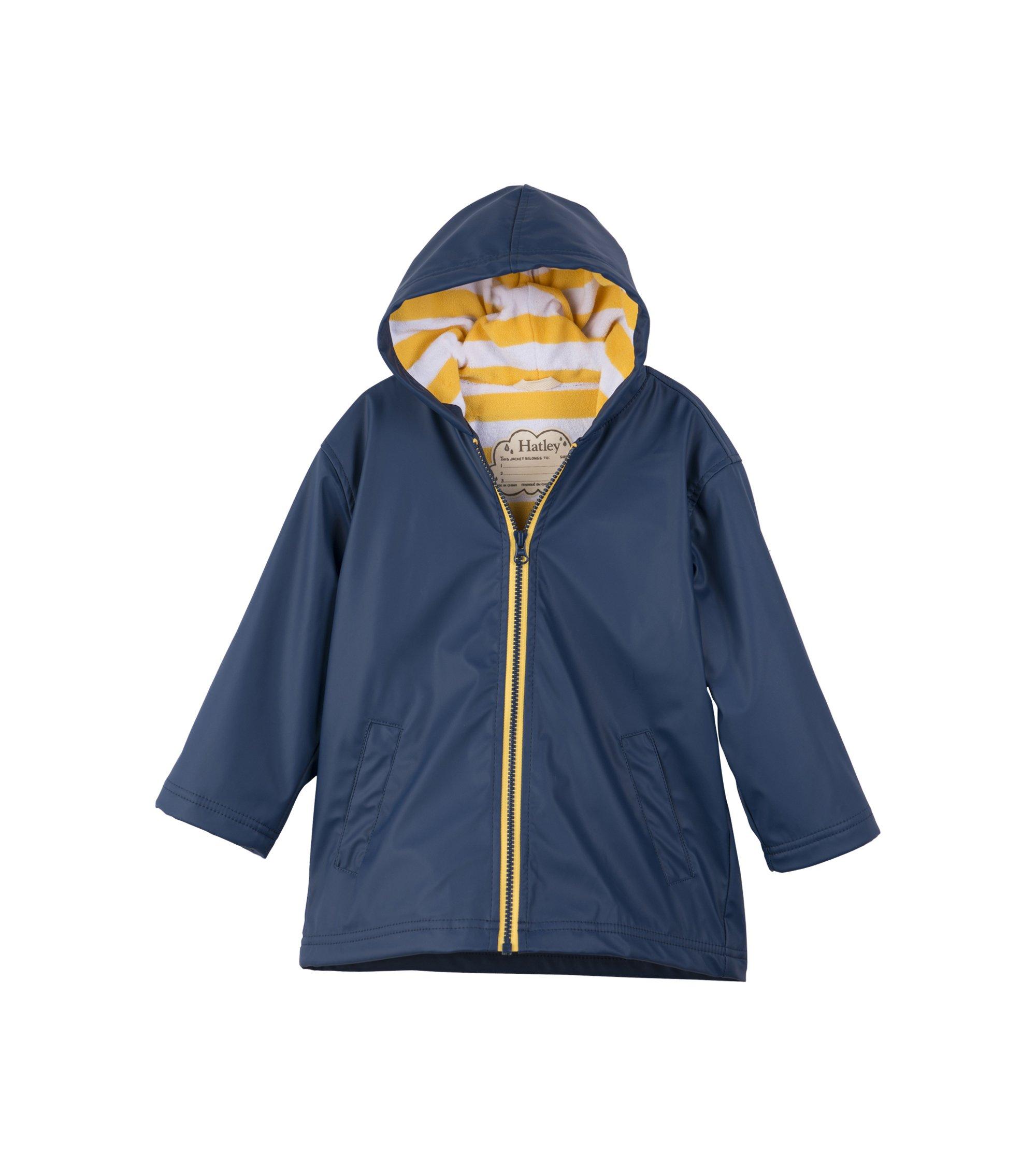 Hatley Little Boys' Splash Jacket, Navy/Yellow, 6