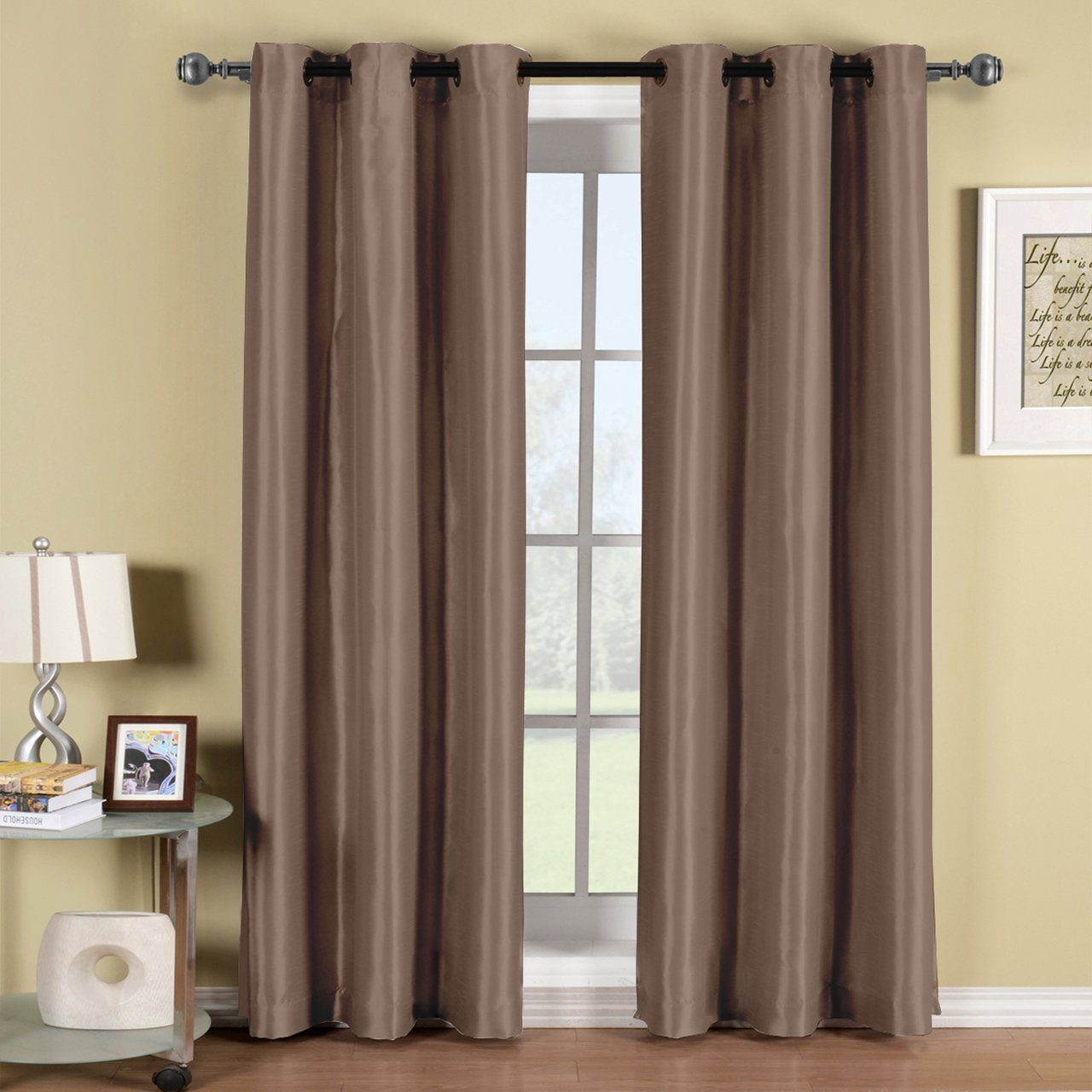 Royal Hotel Soho Mocha Grommet Blackout Window Curtain Panel, Solid Pattern, 42x63 inches, by