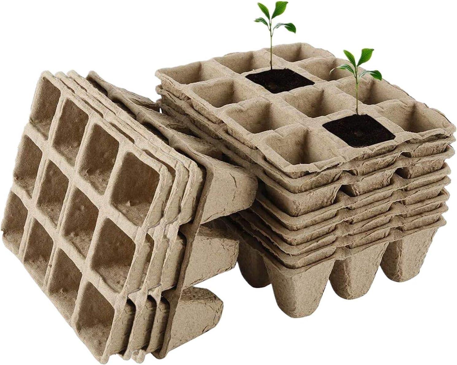 12 Piezas 12 Grid Bandeja Semillero Macetas Biodegradables Turba Bandeja Germinación y Herramientas Trasplante para Jardín, Balcón, Semilla, Plantas, Vegetal, Fruta