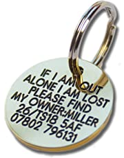 Deeply engraved solid brass 27mm circular dog tag