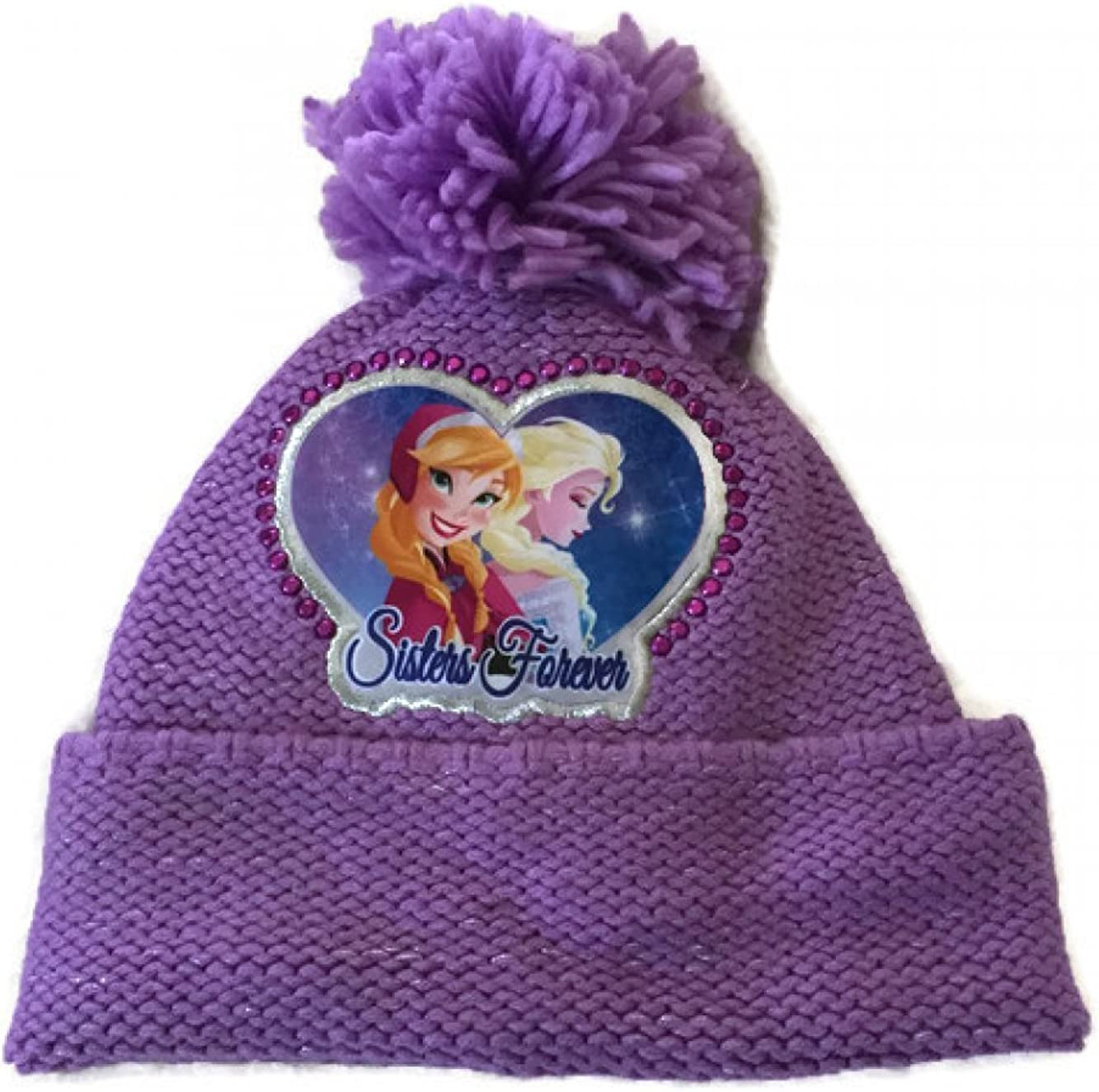 NEW Girls Beanie Hat Gloves Set Purple Disney Frozen Elsa Anna Sisters Knit Cap