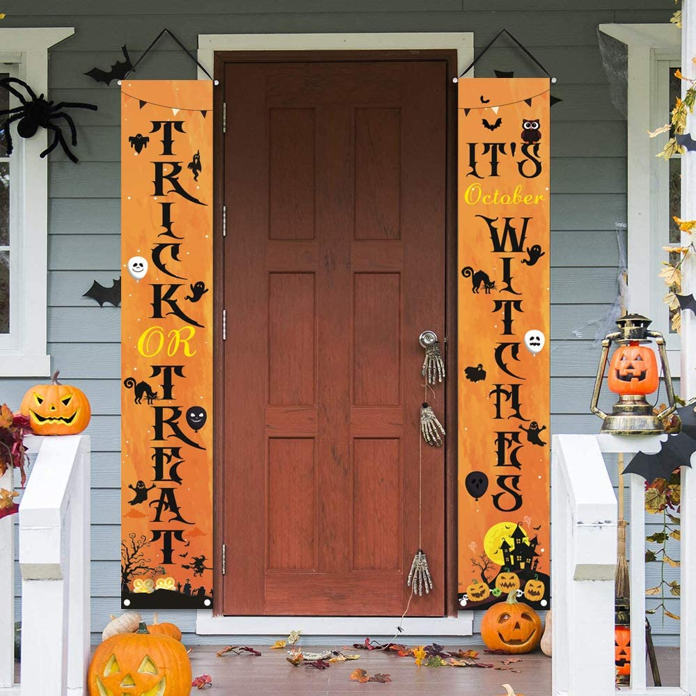 Halloween Decorations Porch Sign Banners - Trick or Treat & October Halloween Signs for Front Door, Halloween Hanging Signs for Indoor/ Outdoor Home Wall Door Holiday Party Welcome Decor 12 x 72 Inch