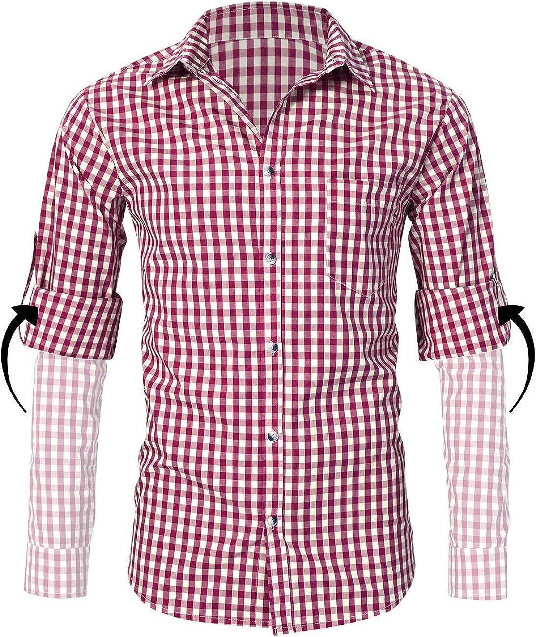 KOJOOIN Hombre Camisa Manga Larga Slim Fit XS - 4XL Camisa de Traje típico bávaro/tirolés para Hombre Oktoberfest: Amazon.es: Ropa y accesorios