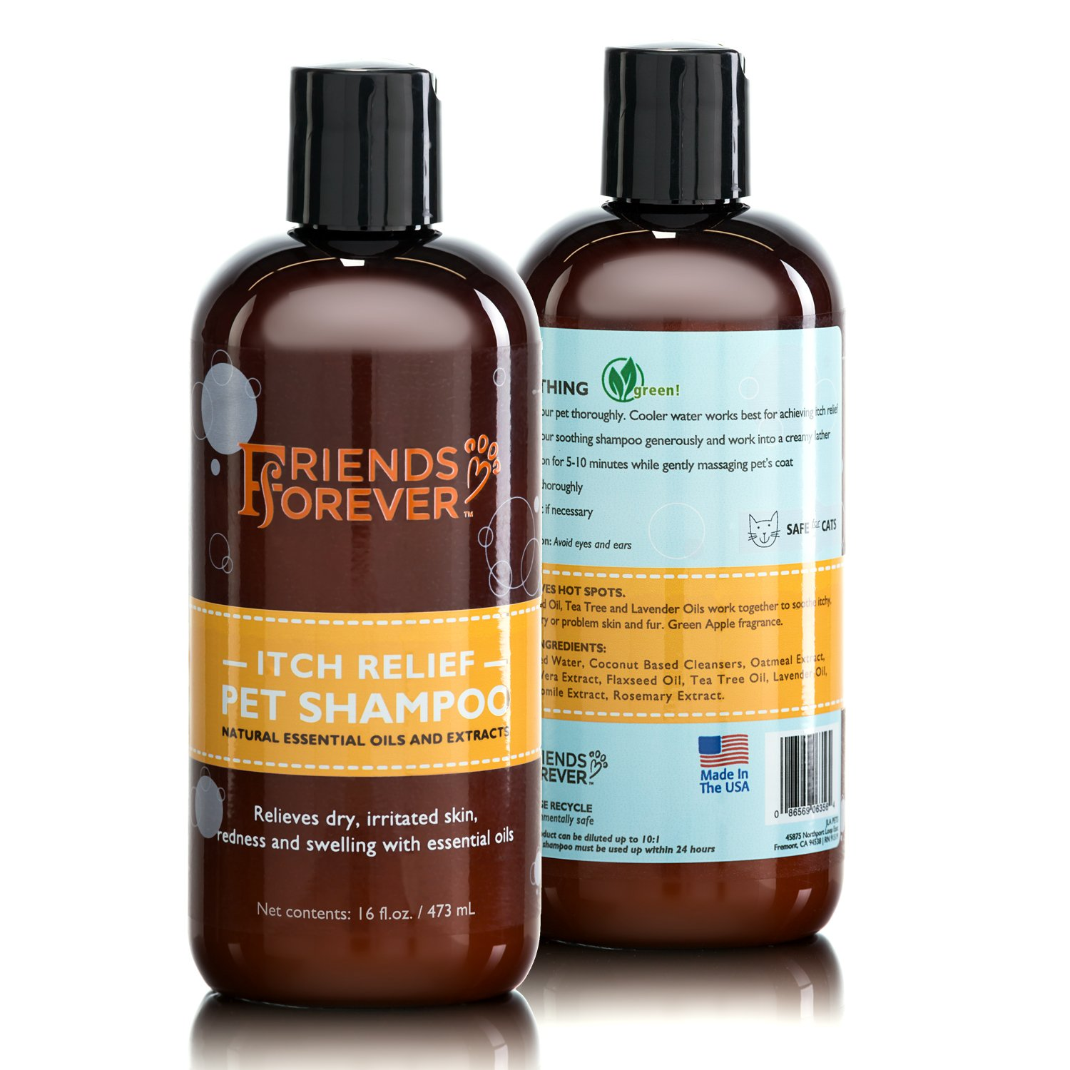 Friends Forever Natural Dog Shampoo for Dry Itchy Skin - Oatmeal Aloe Vera Pet Shampoo For Dog Wash with Flaxseed, Tea Tree and Lavender Oil
