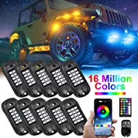 USTELLAR 10 Pods RGB LED Rock Lights APP Remote Color Changing Neon Lighting Kit Waterproof Exterior Underglow Light for…