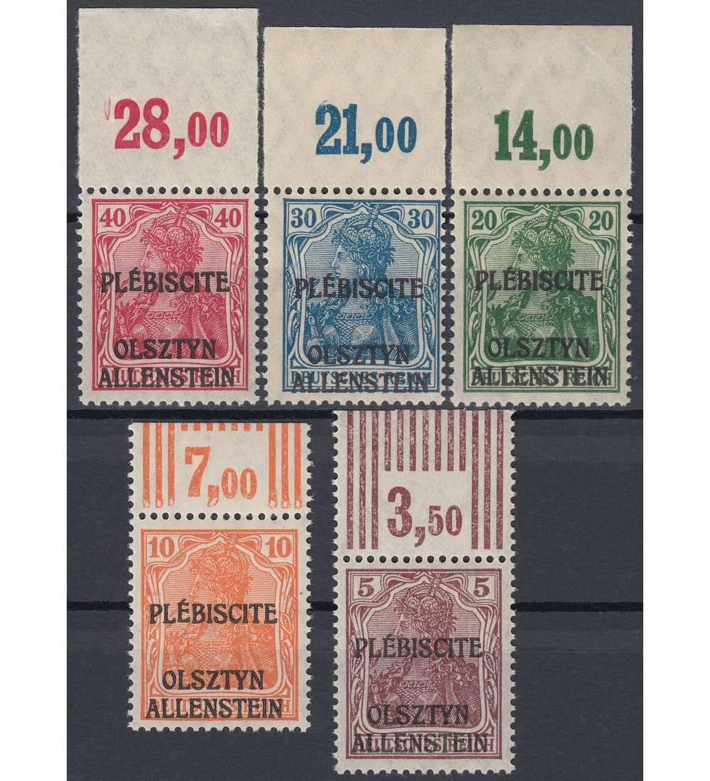 Goldhahn Allenstein Nr.II-VI postfrisch  geprüft und signiert Oberrandsatz Briefmarken für Sammler