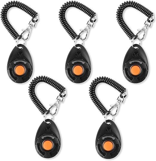 5 unidades con correa de mano clicker con bot/ón grande color negro Clicker para perros Toozey