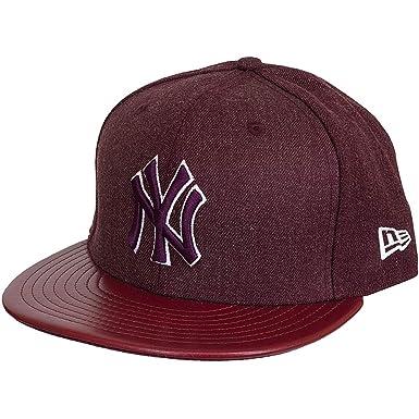 5c4374944 New Era Casquette Caps/Drap-housse chiné Cuir NY Yankees - Rouge - 7 ...