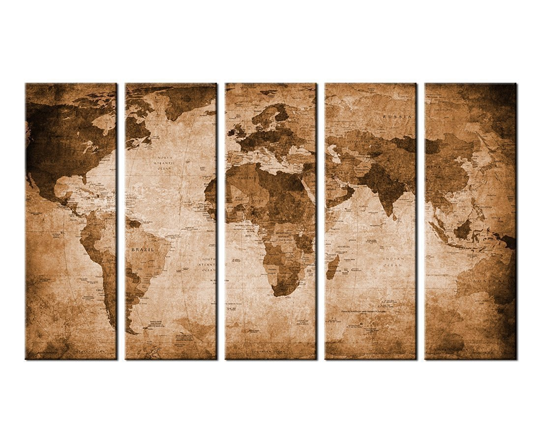 Canvas Wall Art Vintage World Map Canvas Prints Framed 36'' x 60'' - 5 Piece Canvas Art Retro Large Map of the World Painting Pictures Artwork Ready to Hang for Home Office Decoration