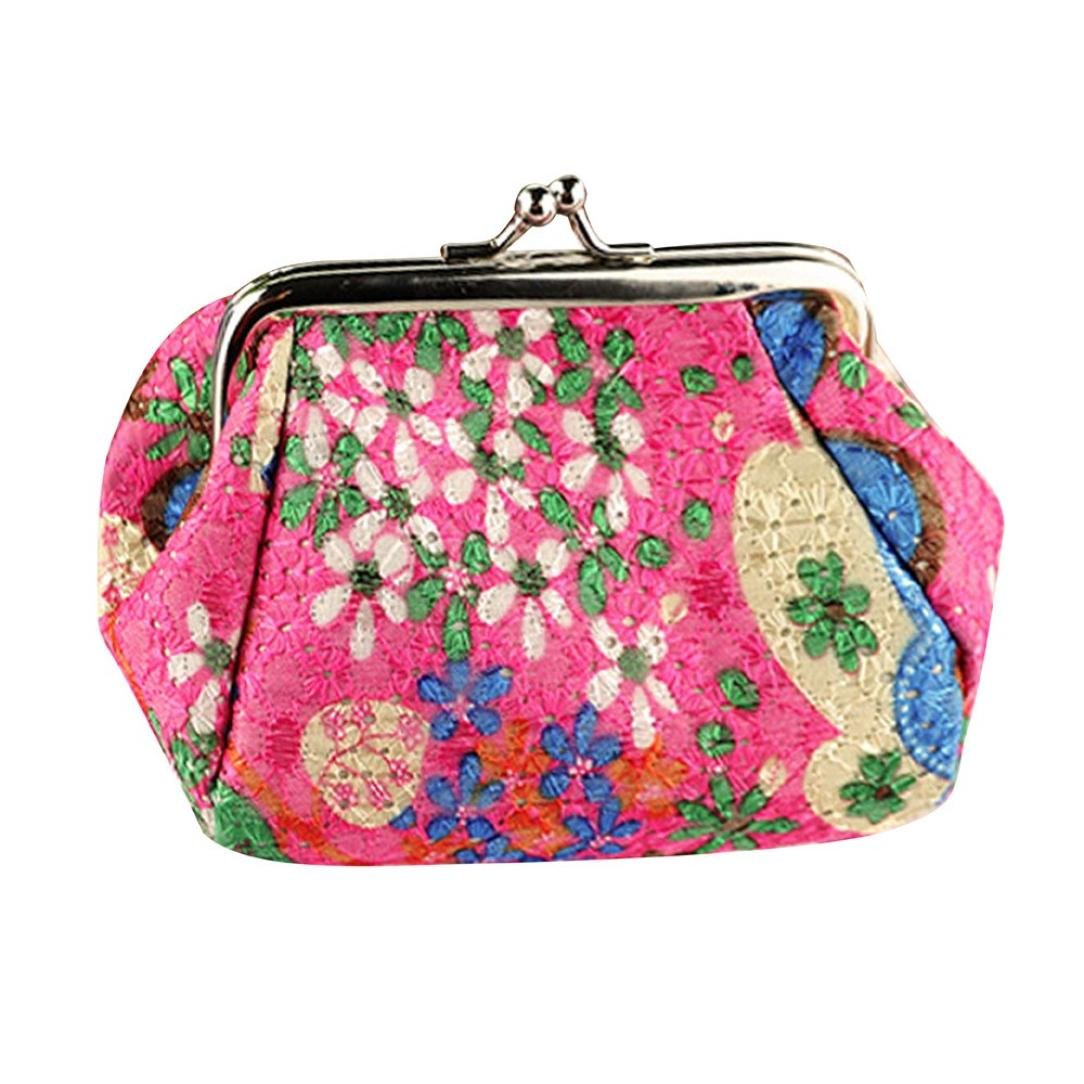 Toraway Wallet, Womens Vintage Flower Mini Wallet Coin Purse Clutch Handbag (Hot Pink)