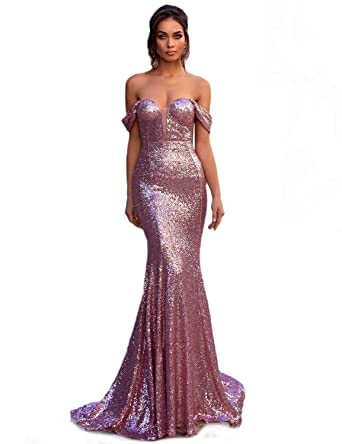 ab5a4782 Sherry Bridal Sexy Off Shoulder Plus Size Prom Dresses 2019 Sequined  Evening Dresses for Women Mermaid Party Gowns Dress SH19 at Amazon Women's  Clothing ...
