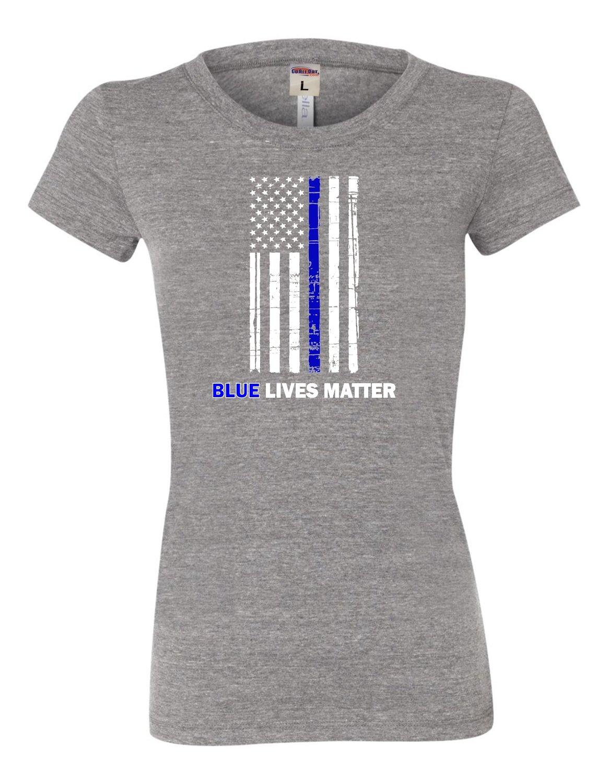 Blue Lives Matter Thin Blue Line Support Police T Shirt 9570