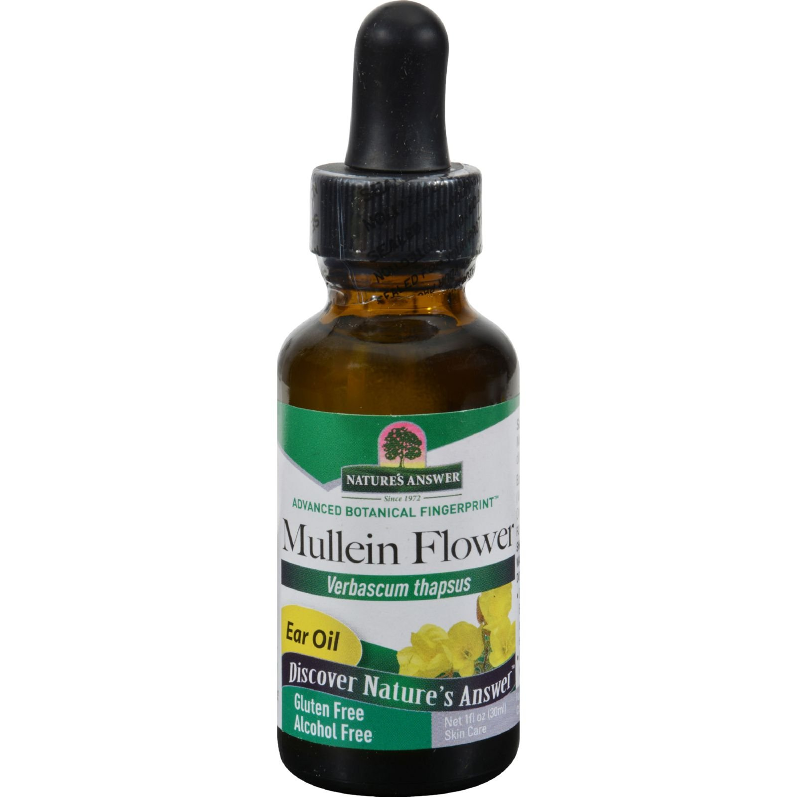 Natures Answer Mullein Flower Alcohol Free - Ear Oil - Support for Irritated Ears - 1 fl oz (Pack of 2)