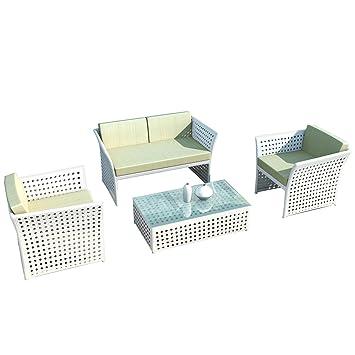 Amazon.de: Aluminium Gartenmöbel Lounge Set Madrid Set in weiss von ...