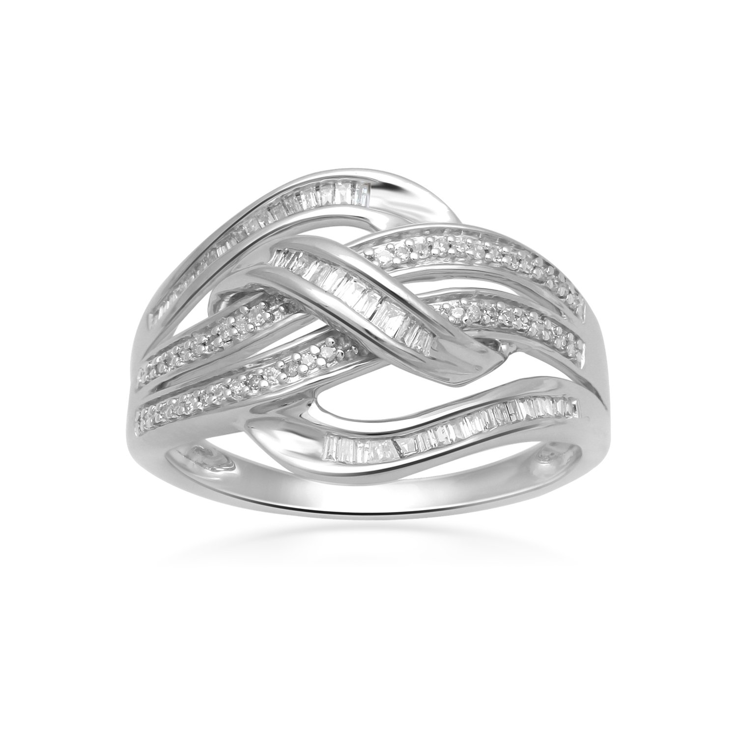 Jewelili Sterling Silver Baguette and Round Diamond Crossover Ring, 1/3cttw. Size 7