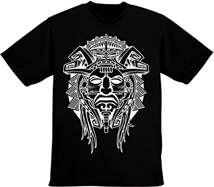 7bccce481 idcommerce Aztec Tribal Face Tattoo Men's T-Shirt   Amazon.com