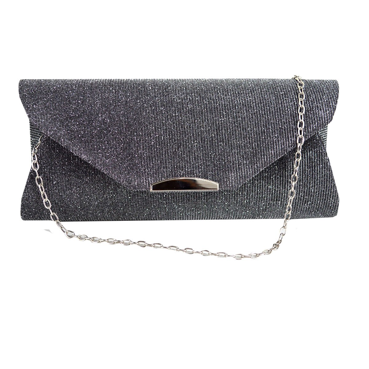 Monique Women Frosted Leather Evening Bag Clutch Bag Mini Envelope Bag Cross body Bag with Chain Strap Money Purse 2384 Dark grey