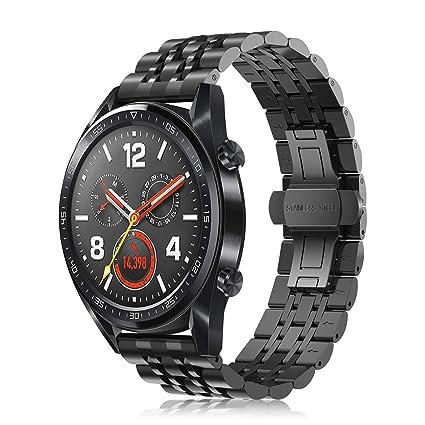 Fintie Correa para Huawei Watch GT 2 / Huawei Watch GT Sport/Active/Classic 22mm Pulsera de Repuesto de Metal de Acero Inoxidable con Hebilla de ...