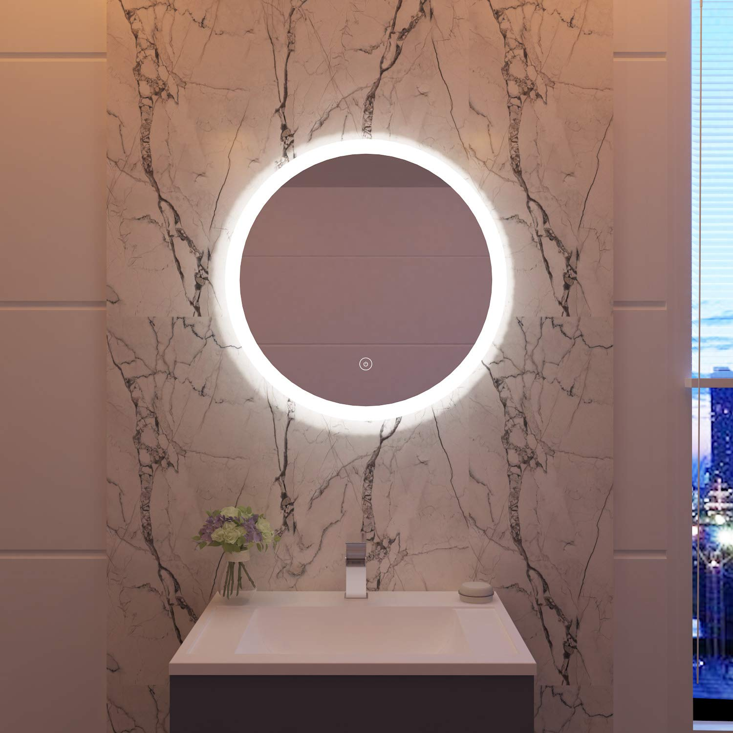 A 600 x 600mm ELEGANT Round Waterproof Illuminated LED Bathroom Mirror Wall Makeup Mirrors with White Light Sensor Touch control and Demister Pad - 600x600mm