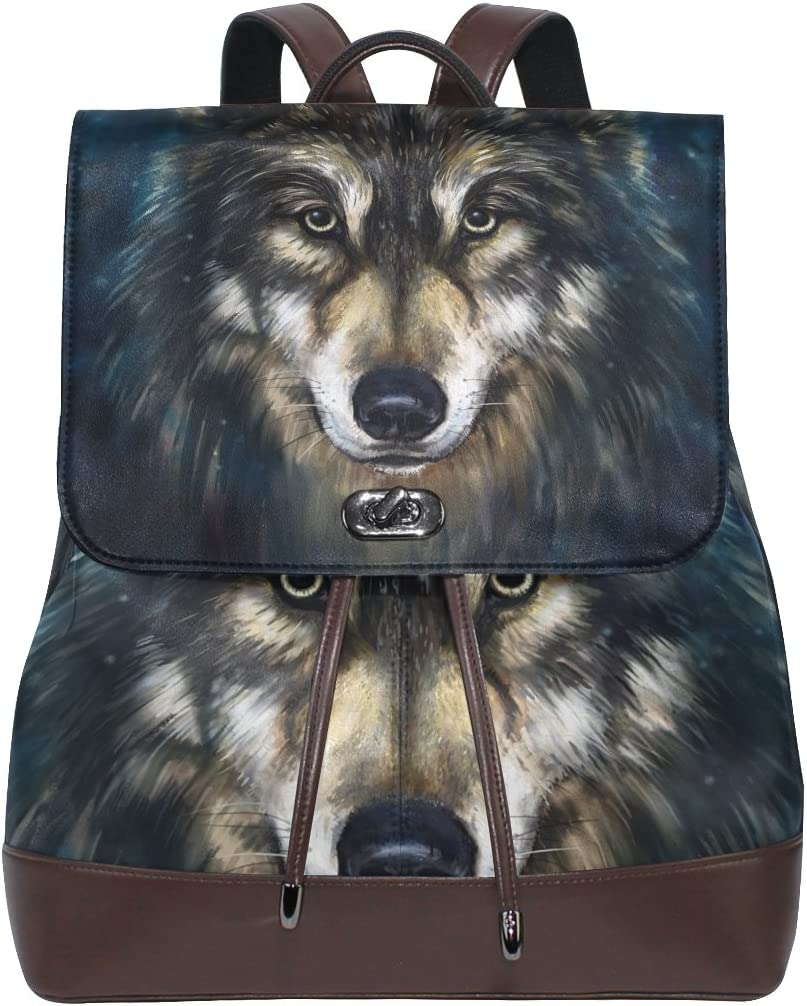 KUWT Cool Wolf PU Leather Backpack Photo Custom Shoulder Bag School College Book Bag Rucksack Casual Daypacks Diaper Bag for Women and Girl