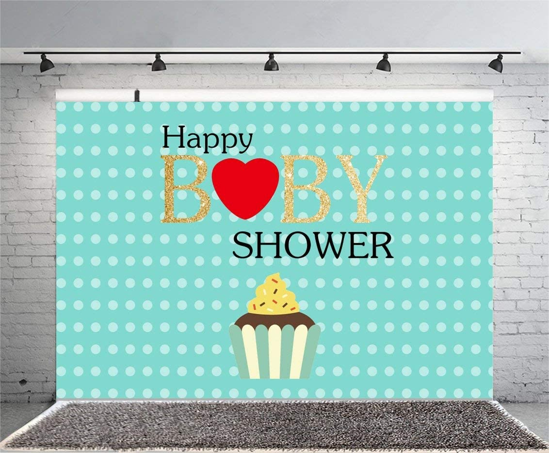 9x6ft Happy Baby Shower Backdrop White Dot Blue Photography Background Cup Cake New Baby Born Welcome Party Photo Shooting Photo Video Studio Props