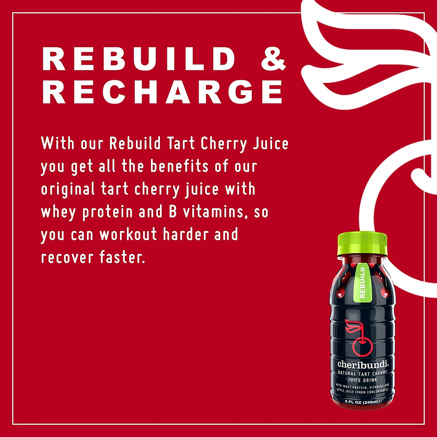 759544b8c2d Amazon.com   Cheribundi REBUILD Tart Cherry Juice - 45 Tart Cherries Per  8oz. Serving (Pack of 12) with B Vitamin Complex and 9g Whey Protein