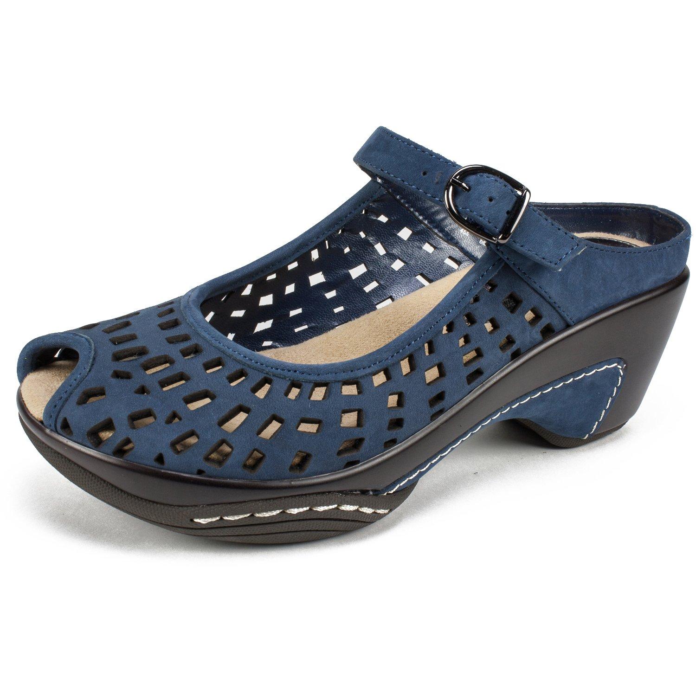 WHITE MOUNTAIN Shoes MARVY Women's Mule, Navy/Nubuck, 8H M