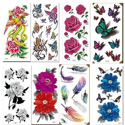 temporales tatuaje pegatinas flores y mariposa Designs extraíble ...