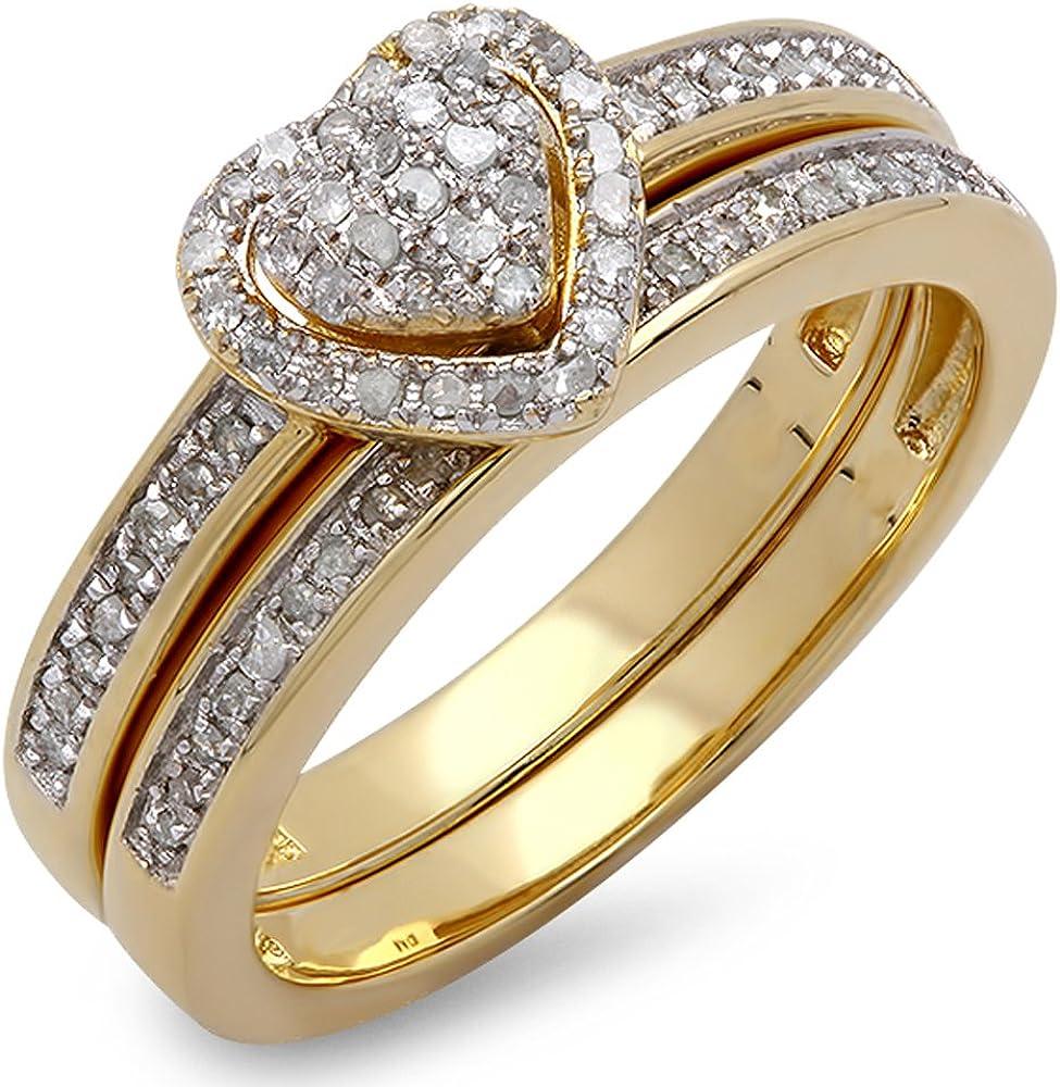 Dazzlingrock Collection 0.23 Carat (ctw) White Diamond Ladies Heart Shaped...