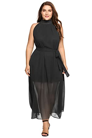 Zeagoo Womens Plus Size Chiffon Sleeveless Maxi Formal Dresses Solid Belted Party Dress,16,