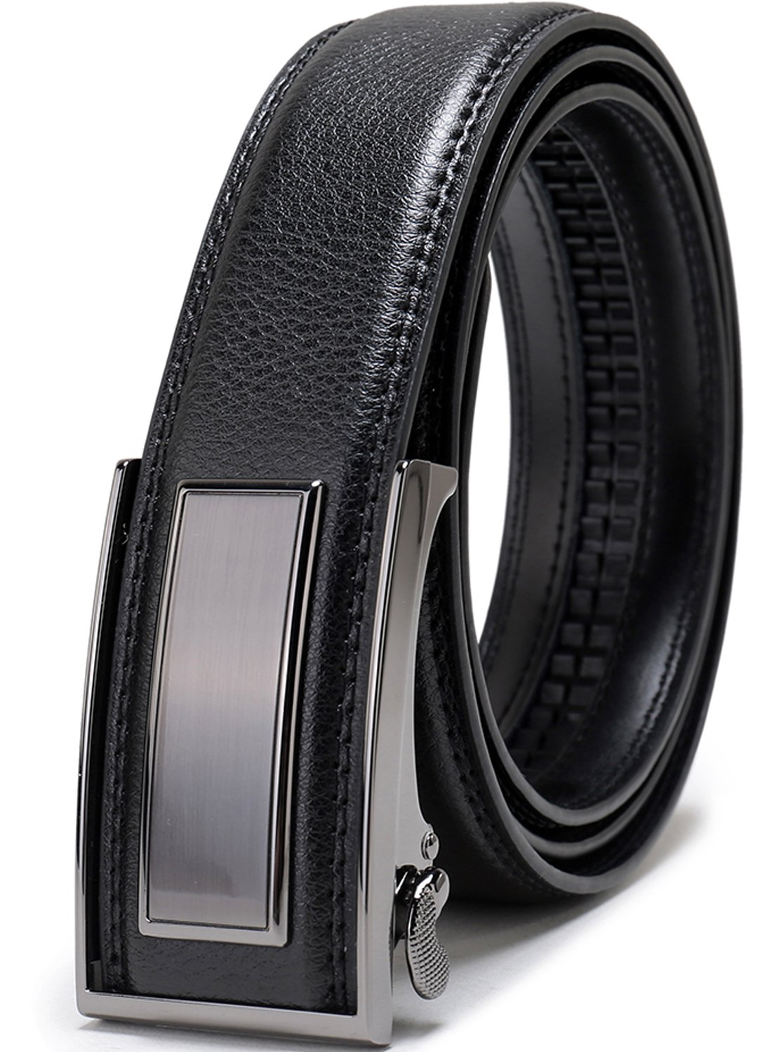 Beltox Fine Men's Dress Leather Ratchet Belt with Nickel-free Automatic Buckle (36-38, black gunmental)