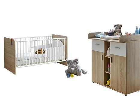 """Ticaa Baby habitaciones""""Nico 2 piezas Sonoma de color blanco"""