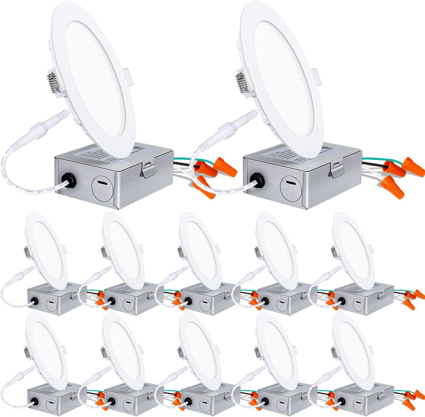 Hykolity 6 Inch LED Recessed Lighting with Junction Box, Smooth Trim, 12 Pack, 12W= 100W, 5000K Daylight, 850lm Dimmable Wafer Light, Canless Soffit Lighting for Shallow Ceiling, ETL
