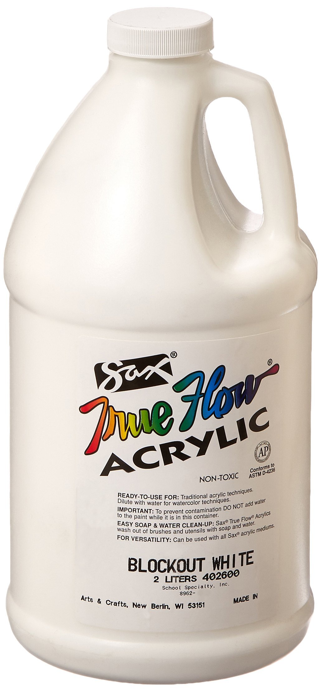 Sax True Flow Heavy Bodied Acrylics Blockout, 2 Liters, White