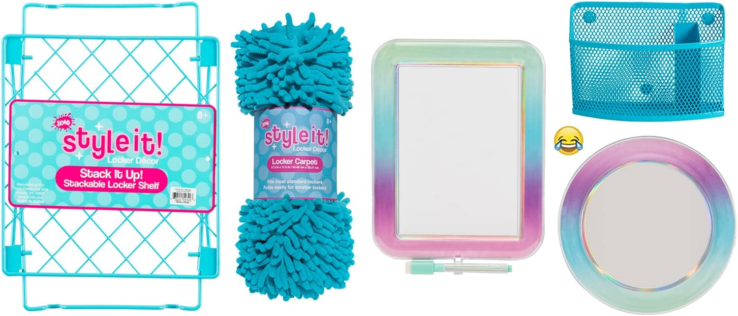 Deluxe School Locker Organizer Kit - Accessories and Decoration Set with Shelf, Rug, Mirror, Message Board and Bin (Aqua Ombre)