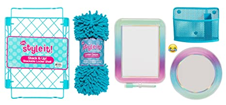 Deluxe School Locker Organizer Kit   Accessories And Decoration Set With Shelf, Rug, Mirror, Message Board And Bin (Aqua Ombre) by Style It