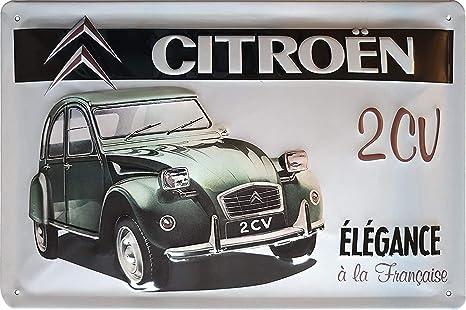 Citroen Ente 2cv Hochwertig Geprägtes Retro Oldtimer Reklame Werbeschild Blechschild Türschild Wandschild 30 X 20 Cm Küche Haushalt