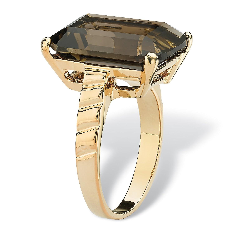14K Yellow Gold Plated Emerald Cut Genuine Smoky Quartz Ring
